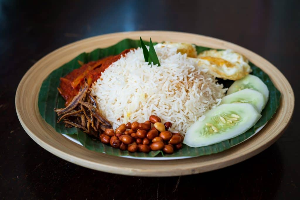Traditonal Malaysian Asian Nasi Lemak on a banana leaf